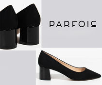 PARFOIS Plain Toe Faux Fur Plain Block Heels Office Style