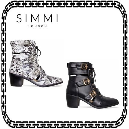 ae07caf407b8 ... SIMMI Ankle   Booties Casual Style Street Style Block Heels Ankle    Booties ...