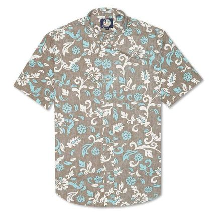 Button-down Flower Patterns Tropical Patterns Short Sleeves