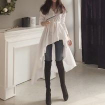 Peplum Street Style Long Sleeves Plain Cotton Long