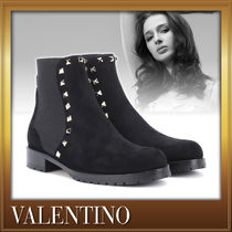 VALENTINO Round Toe Studded Street Style Plain Leather