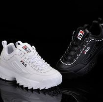 FILA Lace-up Casual Style Unisex Street Style Low-Top Sneakers