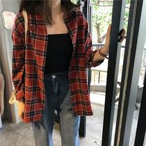 Gingham Casual Style Street Style Long Sleeves Cotton Medium