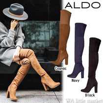ALDO Faux Fur Plain Block Heels Elegant Style Over-the-Knee Boots