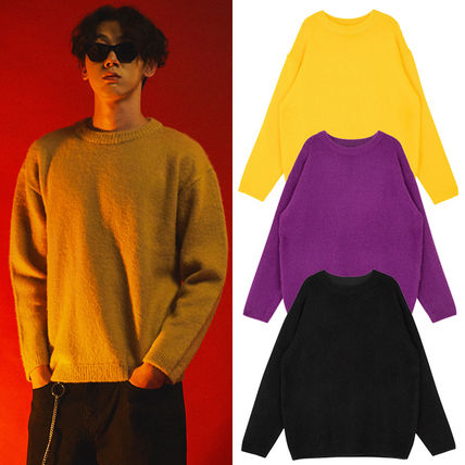 SHETHISCOMMA Knits & Sweaters Crew Neck Unisex Wool Long Sleeves Plain Knits & Sweaters