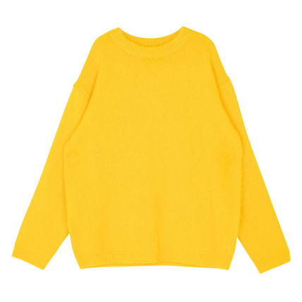 SHETHISCOMMA Knits & Sweaters Crew Neck Unisex Wool Long Sleeves Plain Knits & Sweaters 9
