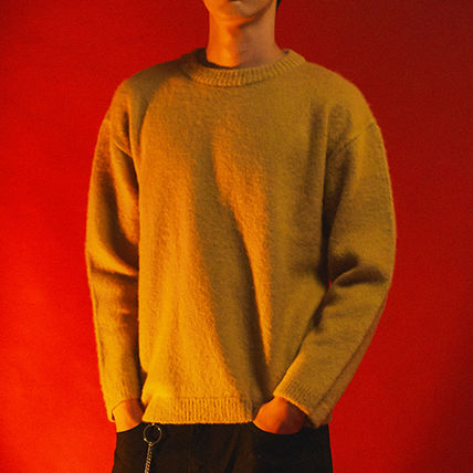 SHETHISCOMMA Knits & Sweaters Crew Neck Unisex Wool Long Sleeves Plain Knits & Sweaters 10