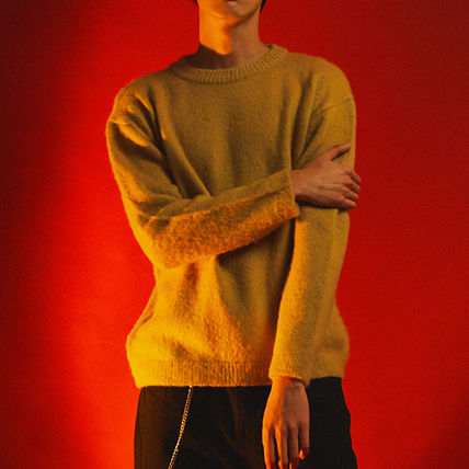 SHETHISCOMMA Knits & Sweaters Crew Neck Unisex Wool Long Sleeves Plain Knits & Sweaters 11