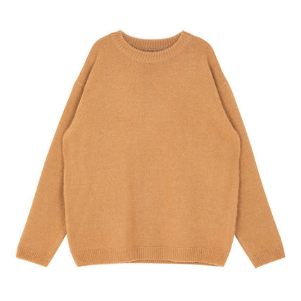 SHETHISCOMMA Knits & Sweaters Crew Neck Unisex Wool Long Sleeves Plain Knits & Sweaters 13