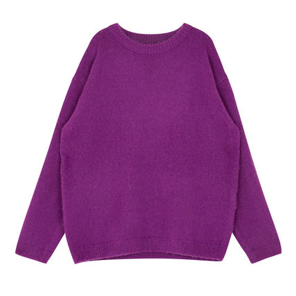 SHETHISCOMMA Knits & Sweaters Crew Neck Unisex Wool Long Sleeves Plain Knits & Sweaters 19