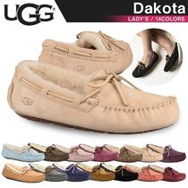 UGG Australia DAKOTA Moccasin Rubber Sole Casual Style Fur Street Style Flats