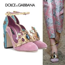 Dolce & Gabbana Plain Toe Velvet Bi-color With Jewels Elegant Style