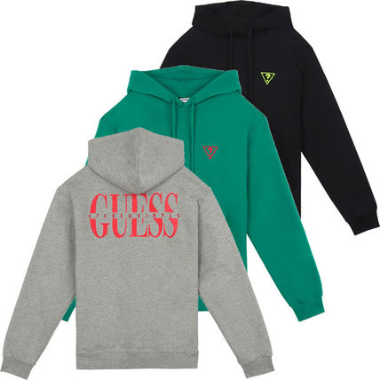 Guess Hoodies Crew Neck Pullovers Street Style Collaboration Long Sleeves
