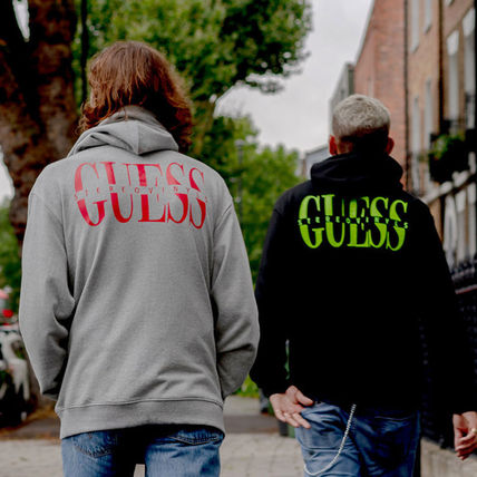 Guess Hoodies Crew Neck Pullovers Street Style Collaboration Long Sleeves 4