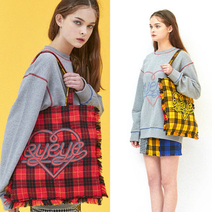 Tartan Casual Style Street Style A4 Totes
