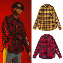 SHETHISCOMMA Crew Neck Tartan Unisex Street Style Long Sleeves Cotton