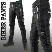 Unisex Street Style Plain Leather Skinny Fit Pants