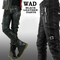 Original leath pants Black Cowhide Biker style Skinny Pants