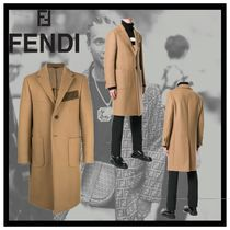 FENDI Wool Plain Long Chester Coats