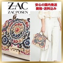 ZAC ZAC POSEN Flower Patterns Calfskin 2WAY Elegant Style Shoulder Bags
