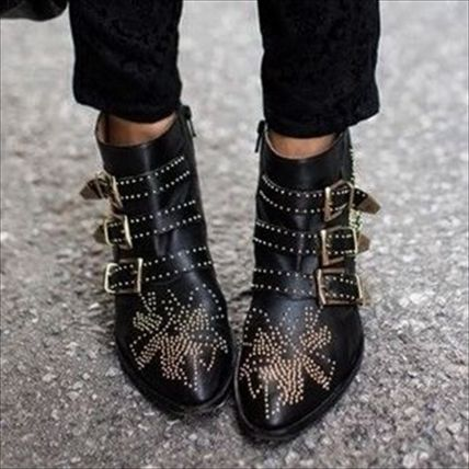 Sheepskin Studded Elegant Style Ankle & Booties Boots