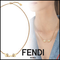 FENDI BAG BUGS Brass With Jewels Elegant Style Necklaces & Pendants