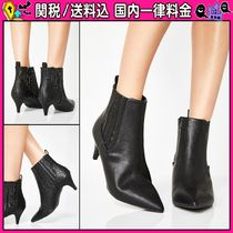 DOLLS KILL Casual Style Faux Fur Plain Pin Heels Ankle & Booties Boots