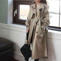 Casual Style Plain Medium Trench Coats