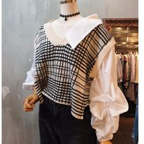 Gingham Casual Style Puff Sleeves Shirts & Blouses