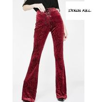 DOLLS KILL Casual Style Velvet Plain Long Wide Leg Pants