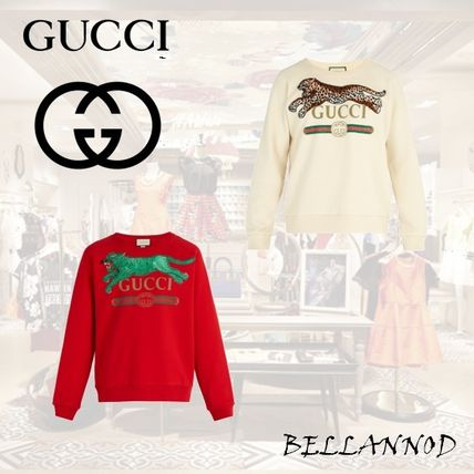 d7905edab37 ... GUCCI Sweatshirts Crew Neck Leopard Patterns Long Sleeves Cotton  Sweatshirts ...