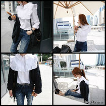 Casual Style Long Sleeves Plain Shirts & Blouses