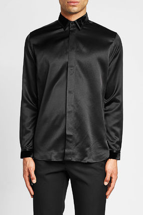 Saint Laurent Shirts Silk Long Sleeves Plain Shirts 4