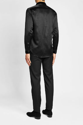 Saint Laurent Shirts Silk Long Sleeves Plain Shirts 6