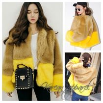 Casual Style Faux Fur Medium Varsity Jackets