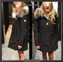 MONCLER Casual Style Fur Blended Fabrics Street Style Plain Long