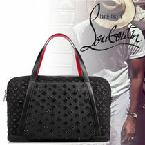 Christian Louboutin Blended Fabrics Studded A4 Plain Leather Boston Bags