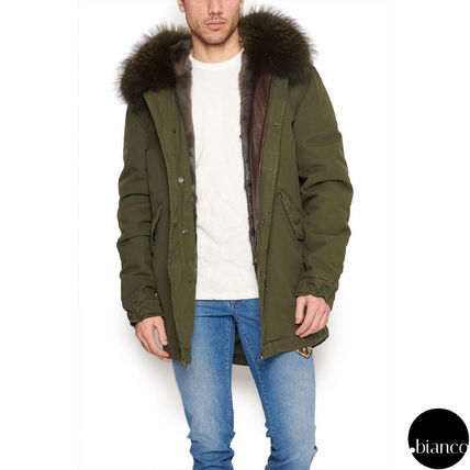 Unisex Fur Blended Fabrics Bi-color Plain Parkas