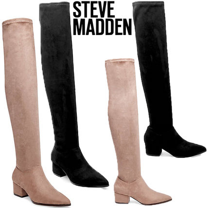 40a844adb16 ... Steve Madden Over-the-Knee Plain Elegant Style Chunky Heels Over-the-  ...