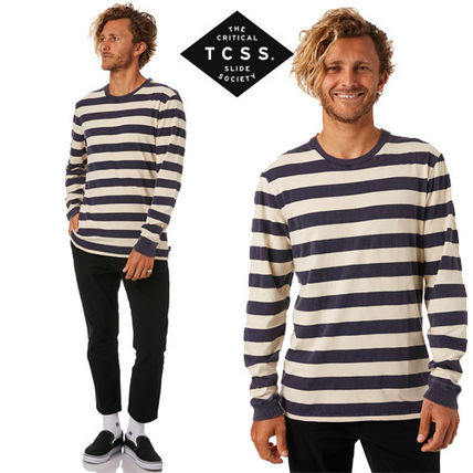 Crew Neck Stripes Long Sleeves Cotton Long Sleeve T-Shirts