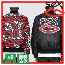 Sex Skateboards Short Unisex Street Style Oversized Varsity Jackets