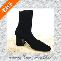 CELINE Casual Style Plain Block Heels Ankle & Booties Boots