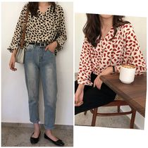 Leopard Patterns Casual Style Long Sleeves Cotton Long