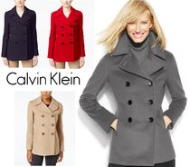 Calvin Klein Short Cashmere Plain Office Style Peacoats