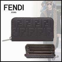 FENDI Monogram Leather Long Wallets
