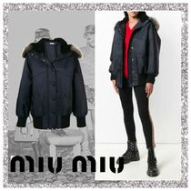 MiuMiu Short Stripes Casual Style Fur Varsity Jackets