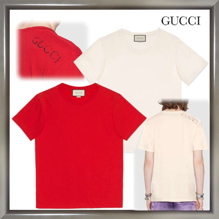 GUCCI Crew Neck Crew Neck Plain Cotton Short Sleeves Oversized