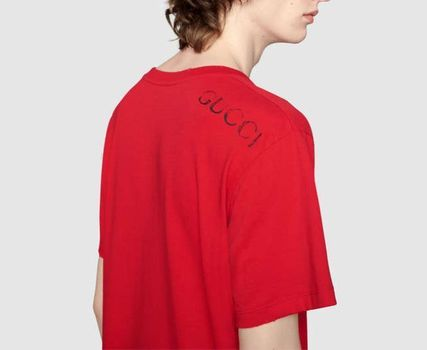 GUCCI Crew Neck Crew Neck Plain Cotton Short Sleeves Oversized 5