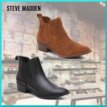 Steve Madden Round Toe Casual Style Plain Leather Chelsea Boots