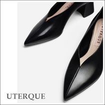 Uterque Black Leather V-vamp Block Heel Court Shoes